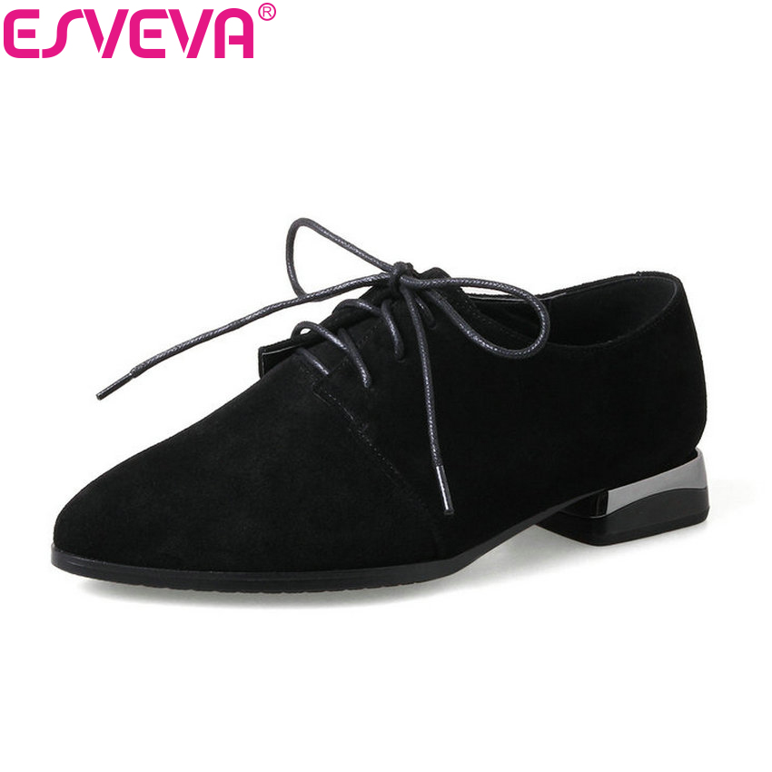 ESVEVA 2018 Spring and Autumn Women Pumps Lace Up Square Med Heels Shoes Pointed Toe Western Style Ladies Pumps Shoes Size 34-43 xiaying smile woman pumps shoes women spring autumn wedges heels british style classics round toe lace up thick sole women shoes