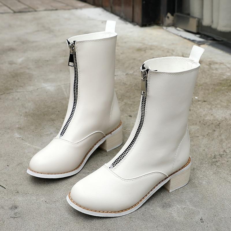 Avant 40 De Taille Femme Loisirs blanc Pluie Confortable Bottes Fille 35 Nouvelles Zipper 2018 Cheville Chaussures Collège Automne Noir Femmes Étanche NnwOP80Xk