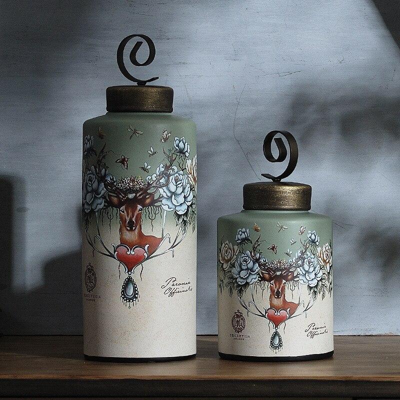Réservoirs de stockage fleurs et cerfs céramiques américaines fer art général canettes deux ensembles d'ornements maison bibelots ornements grand