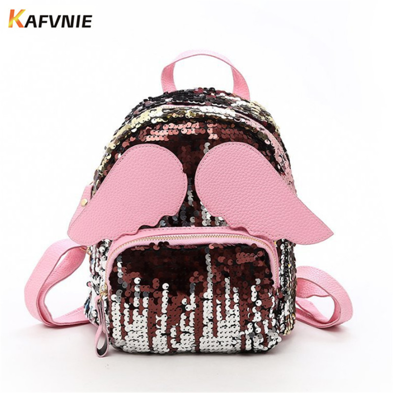 2018mini Women Backpack For Girls Shiny Silver Angel Pink Backpack Woman Bag Pu Leather Men School Bags For Valentine's Gift Bag