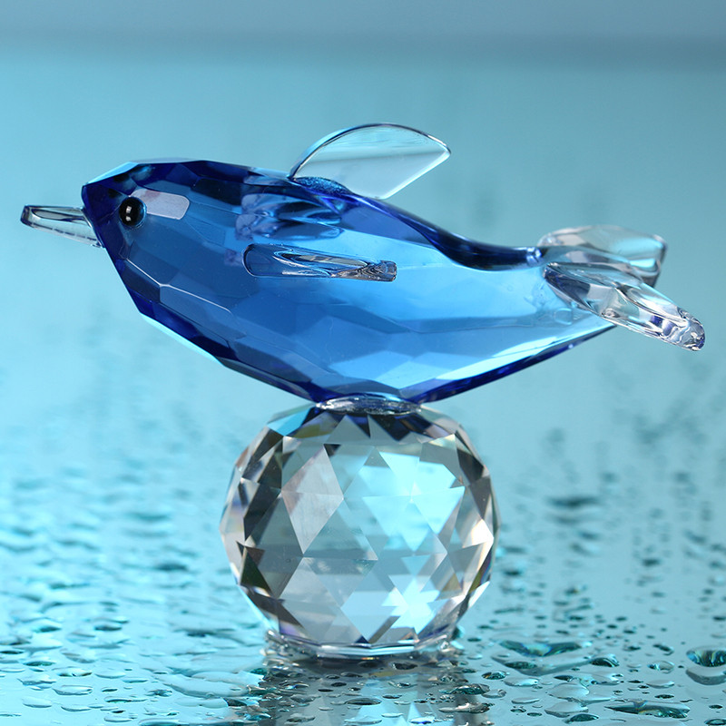 Glass Crystal Blue Dolphin Figurines with Crystal Ball  Paperweight Crafts Collection Table Car Souvenir Home Wedding Decoration (5)
