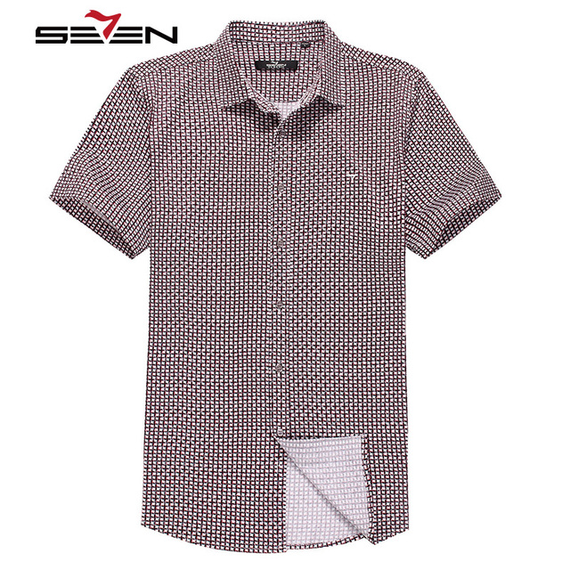 Seven7 homens verão casuais camisas de manga curta ajuste regular solto knit moda camisas xadrez fino 100% algodão na moda camisas 704a3055