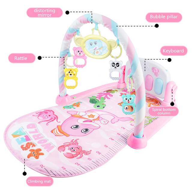Newborn Baby Fitness Bodybuilding Frame Pedal Piano Music Carpet Rocking Chair Activity Kick Play Education Toy 3