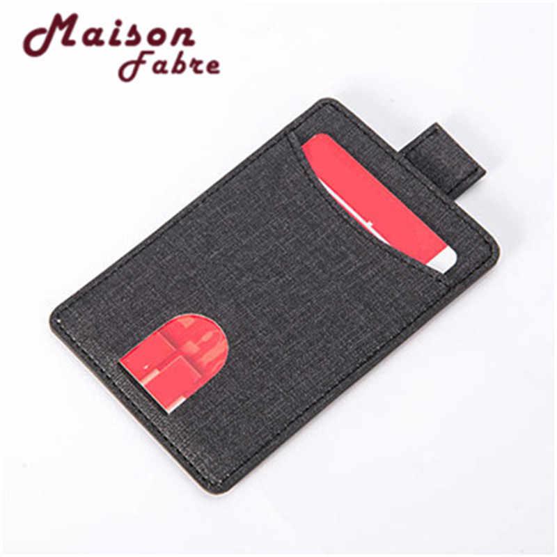 الأعمال النساء الرجال الخيش النسيج محافظ جلدية للسيدات ID بطاقة الائتمان اليدوية حامل محفظة جيوب الكتان و # دروبشيب