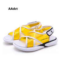 AAdct fashion girls sandals 2019 summer new little kids sandals for boys pinkycolor transparent children shoes student