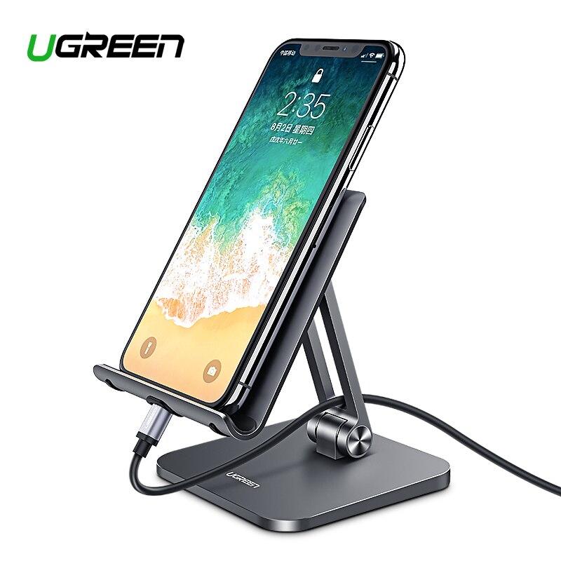 Ugreen del soporte del teléfono móvil de aluminio de aleación de Metal soporte de Tablet soporte Universal para iPhone iPad Xiaomi escritorio titular del teléfono