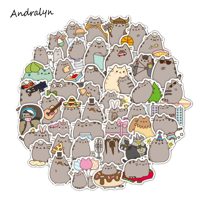 New 100Pcs/Set Cartoon Pusheen Cat Cute Stickers Pvc Waterproof Stickers For Luggage Laptop Car Bike Skateboard Toy Sticker Gift ...