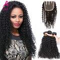 7A Malaysian Curly Virgin Hair With Closure Kinky Curly With Closure 3Pcs Bundles Malaysian Curly Hair With Closure With Closure