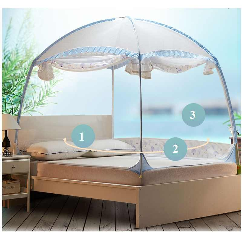 3 Sizes New Blue Mosquito Net Bed Tent For Bedroom Decor Student Adults Canopy Netting Portable Yurt Mosquito Net For Double Bed
