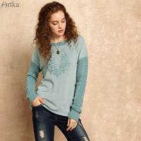 CLEARANCE ARTKA 2018 Atumn and Winter Women New Embroidered Wool Woven Twisted Flowers Round Neck T shirt Female ZA15857Q