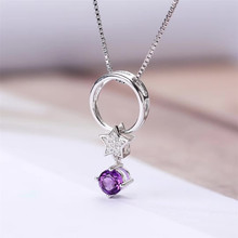 wholesale new fashion ring crystal jewelry 925 sterling silver natural purple amethyst round circle pendant necklace for gril цена