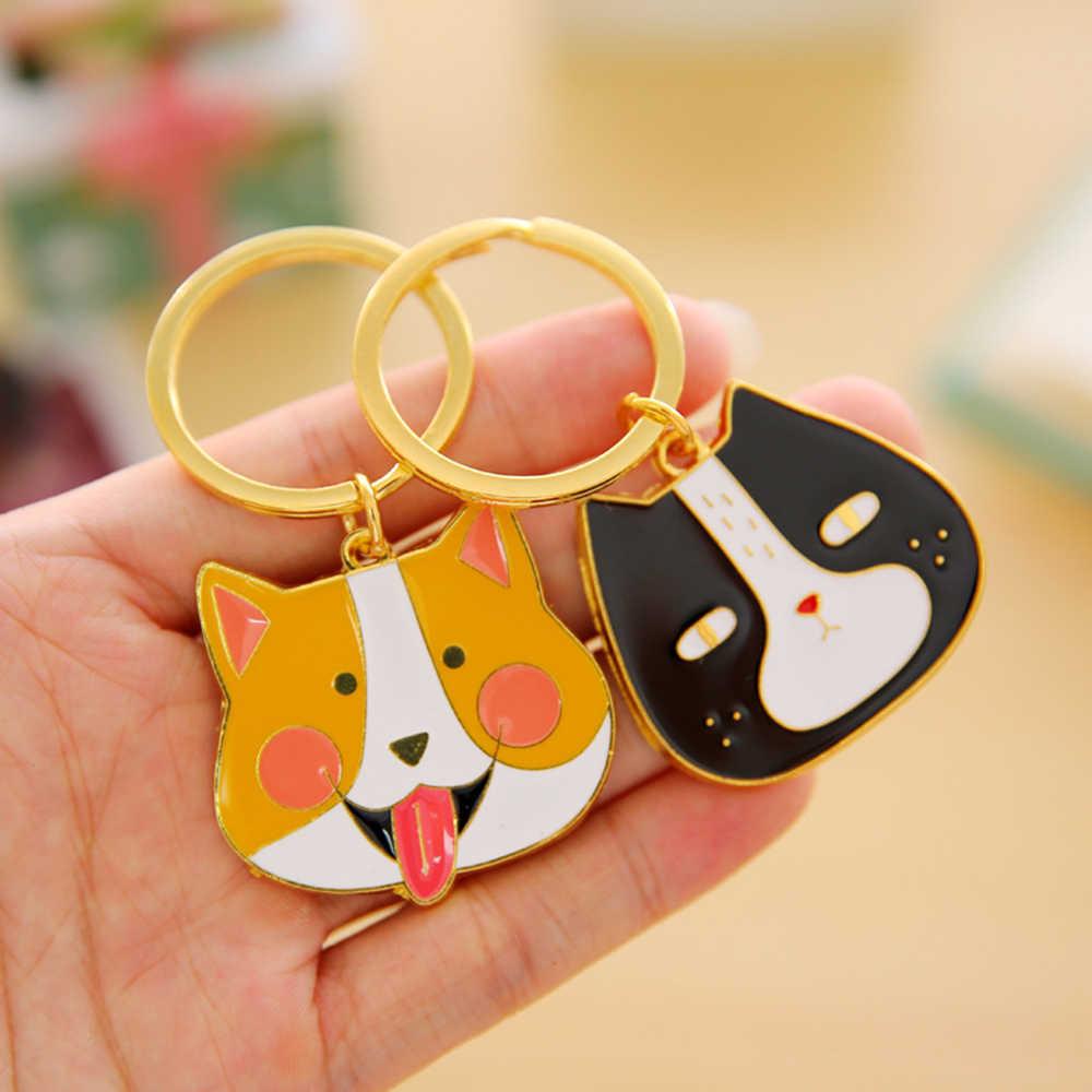 2017 kawaii cão gato anel chave anel chave da cadeia de moda bonito anime chaveiro bugiganga novidade bugiganga criativa charme para as mulheres menina