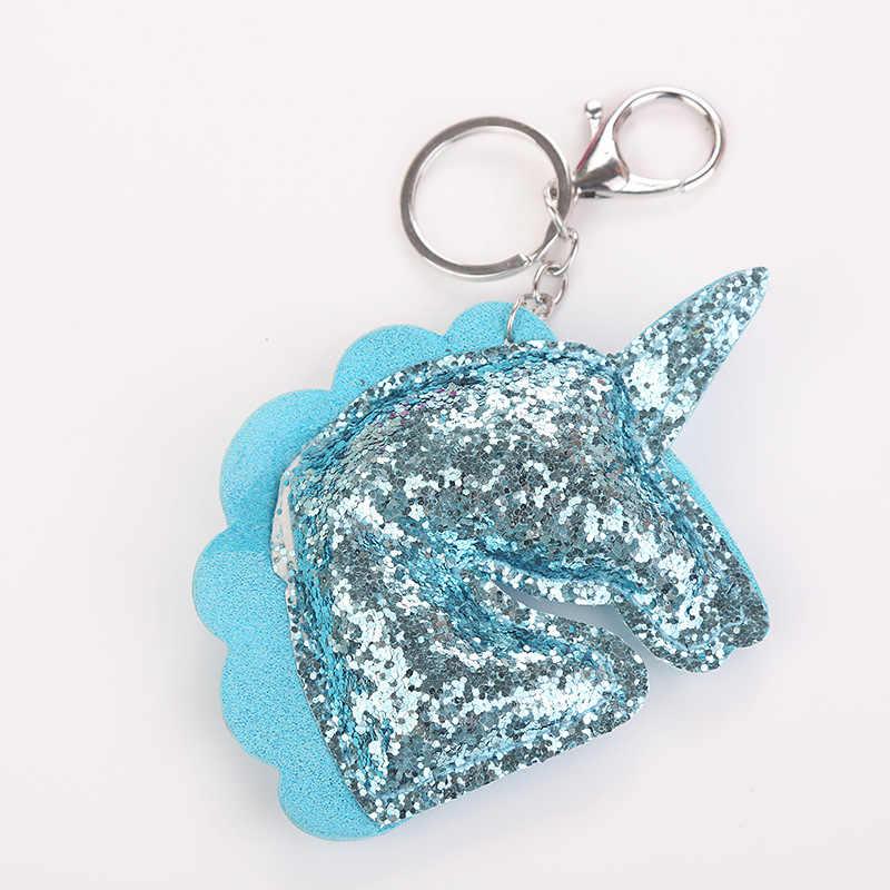 لطيف لامعة يونيكورن القرن المفاتيح موضة حورية البحر الترتر الحيوان الحصان مفتاح سلسلة Keyrings للنساء سيارة حقيبة قلادة مجوهرات