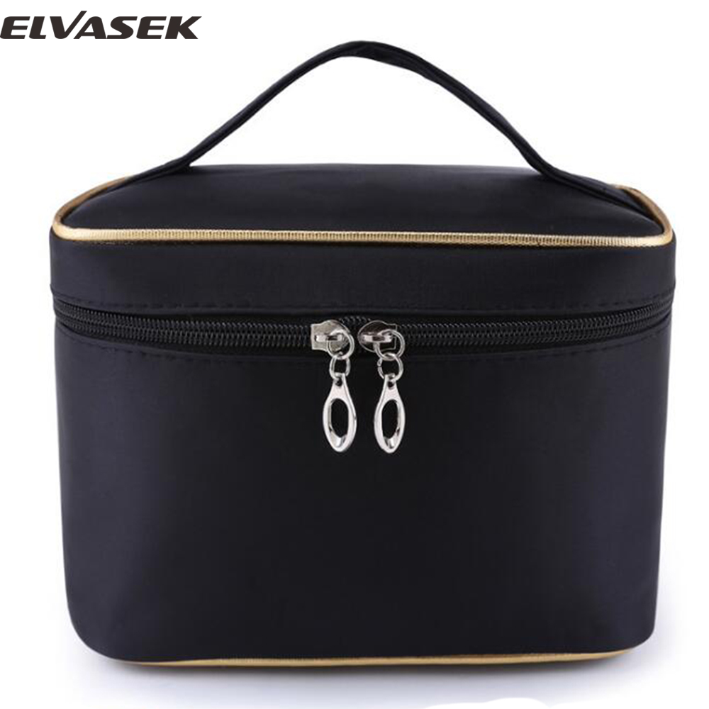 Elvasek new comes fashion women cosmetic cases solid travel bags large capacity wash bags make up cosmetic case bolsas