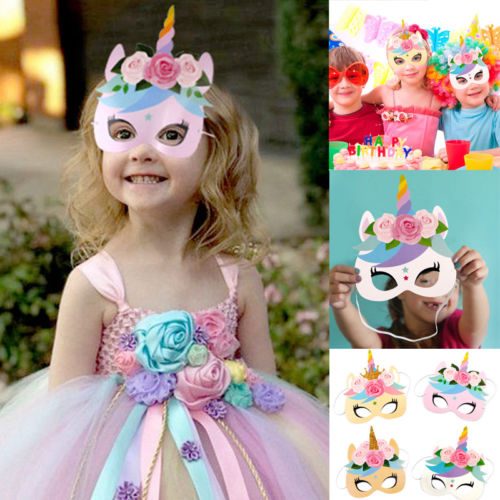 Masks 12PCS Rainbow Unicorn Party Masks Rainbow Birthday Paper Headbands Kids Favors