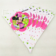 2.5m/set Minnie Mouse Banner Flag Cartoon Theme Party Supplies For Kids Happy Birthday Decoration Baby Shower Festival