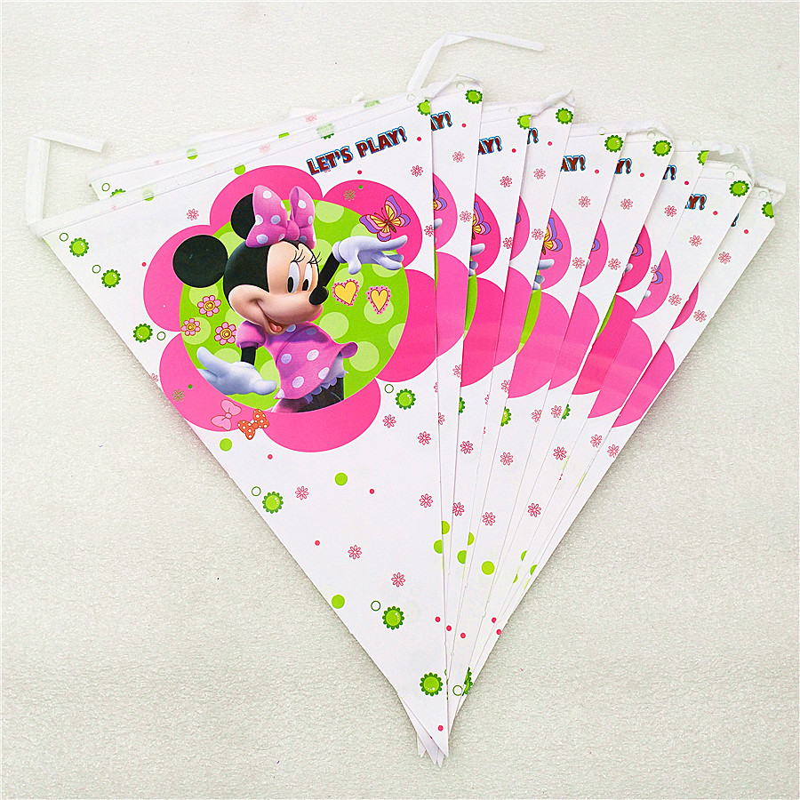 2.5m/set Minnie Mouse Banner Flag Cartoon Theme Party Supplies For Kids Happy Birthday Decoration Baby Shower Party Festival