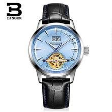 цены BINGER Tourbillon Switzerland Mens Watches luxury brand Automatic Mechanical Watch men Fashion Leather strap clock reloj montre