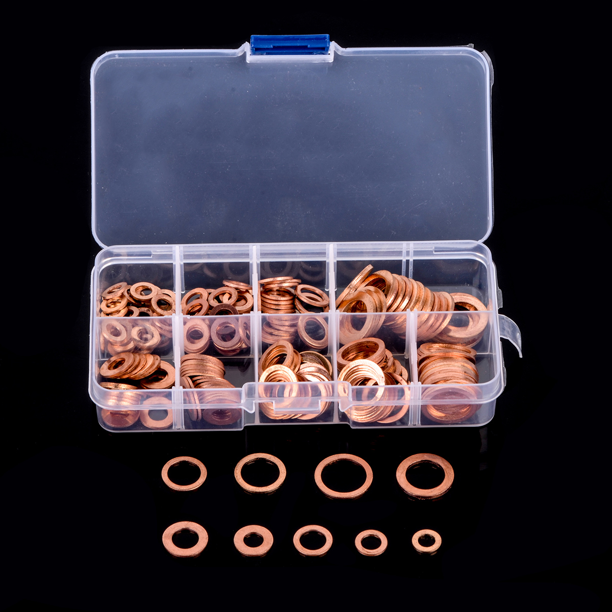 200pcs 9 Sizes Copper Washer Flat Ring Gasket Set Flat Ring Seal Assortment Kit with Box M5-M14 Fastener Hardware Accessories200pcs 9 Sizes Copper Washer Flat Ring Gasket Set Flat Ring Seal Assortment Kit with Box M5-M14 Fastener Hardware Accessories