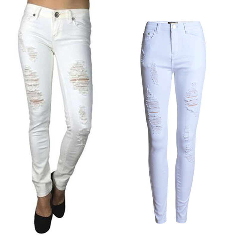 2017 Women Pencil Jeans Hole White Slim Solid Color Ripped Skinny Ladies High Waist Denim Pants Trousers WJNSL023