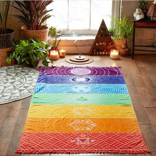 Bufanda de rayas arcoíris Bohemia pared colgante India Mandala manta 7 Chakra color tapiz verano Boho playa toalla Yoga estera