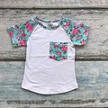 spring summer baby girls outfits aqua hot pink floral short kids wear shirts raglans top boutique outfits cotton clothing