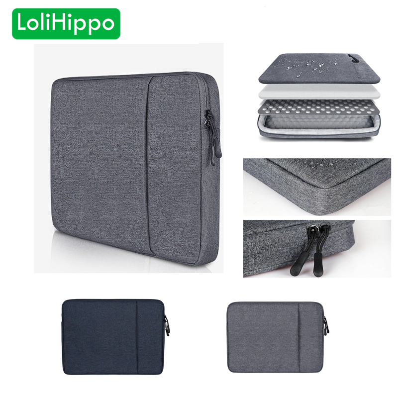 LoliHippo Portable Laptop Liner Bag Black Gray Notebook Sleeve Case Bag for font b Apple b