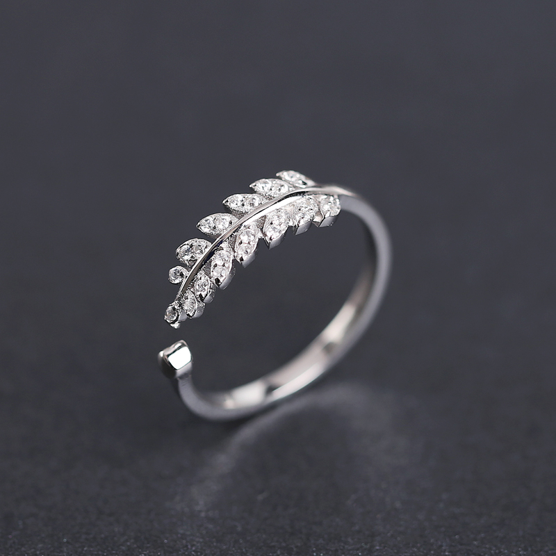 Real 925 Sterling Silver Ring for Women New Design Leaves Female ...