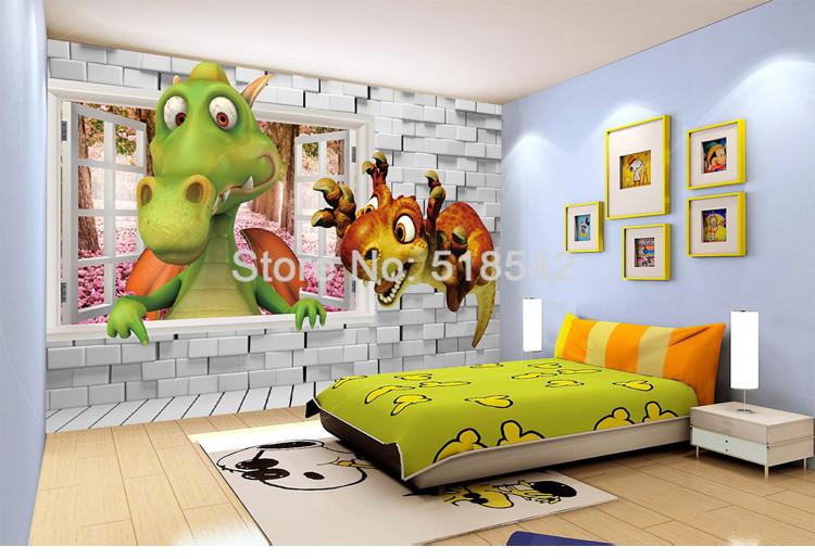 HTB1bZXiQXXXXXXbapXXq6xXFXXXv - Custom Photo Wallpaper 3D Cartoon Cute Dinosaur Brick Wall Children Room Bedroom Background Wall Decor Mural Wallpaper Kids