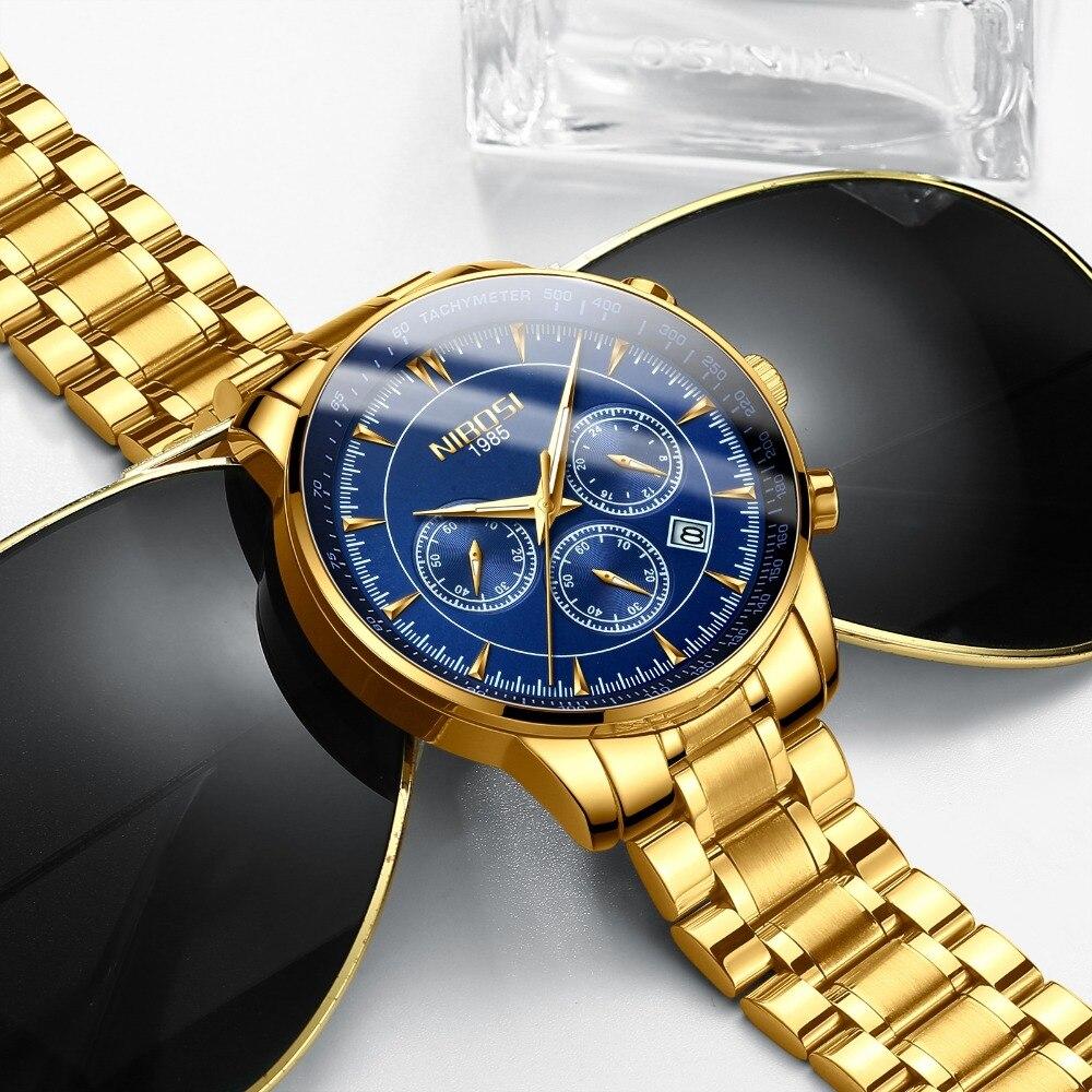 Montre NIBOSI en or pour hommes montres Top marque de luxe Sport pour hommes montre à Quartz étanche montre-bracelet militaire Relogio Masculino Saat