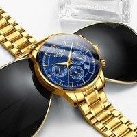 NIBOSI золотые часы для мужчин s часы лучший бренд класса люкс Спорт для мужчин кварцевые часы водостойкие Военная Униформа наручные