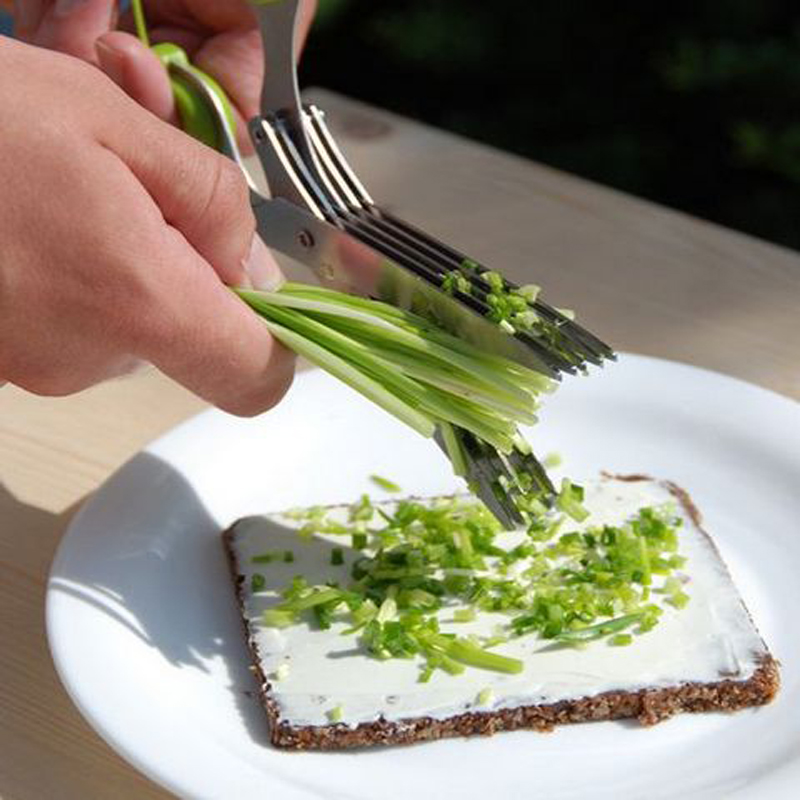 Многофункциональные кухонные ножи из нержавеющей стали, 5 Многослойные ножницы для суши, измельченные чешуйки, ножницы для специй, инструменты для приготовления пищи