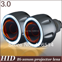 "3"" inch aircraff aluminum HID Bi-xenon 6000k H1 H4 H7 H11 9005/6 Projector Lens kit  Angel Eye Devil Eye for auto headlight"
