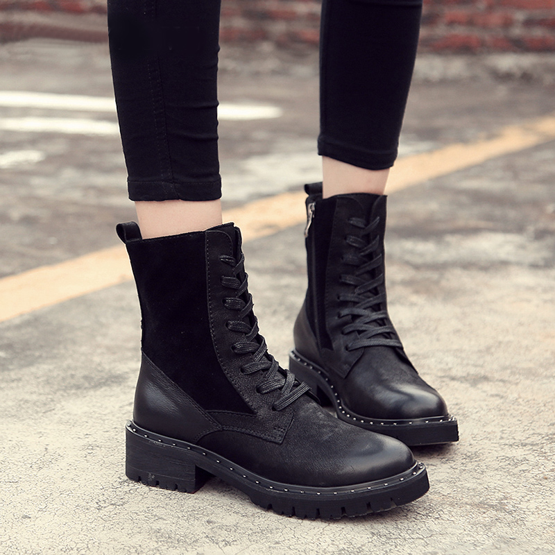 British England Stylish Style Martin Shoes For Women Winter Warm Plush Boots Lady Natural Leather Female Heeled Booties Big Size british england style stylish men boots natural leather round toe chunky heel male ankle booties comfortable new mans shoes