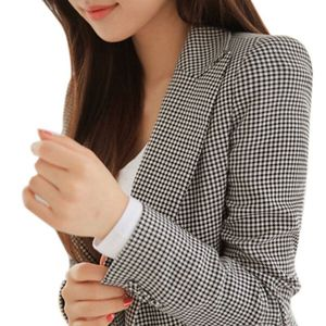 Image 2 - נשים משובץ ארוך שרוול טרייל בתוספת גודל פורמליות מעילי חליפת גבירותיי עבודה ללבוש מזדמנים הלבשה עליונה