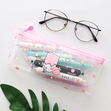 1 Pcs Kawaii Fresh Milk Fruit Pencil Case Transparent PVC Pencil Bag Pencil Box School Office Supplies Stationery Gift(China)
