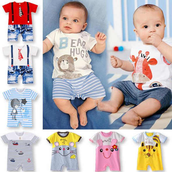 2017 Baby Rompers Summer Short Sleeve 100% Cotton Newborn Baby Clothes Baby Costumes Newborn Baby Boy Clothes Girls baby rompers o neck 100