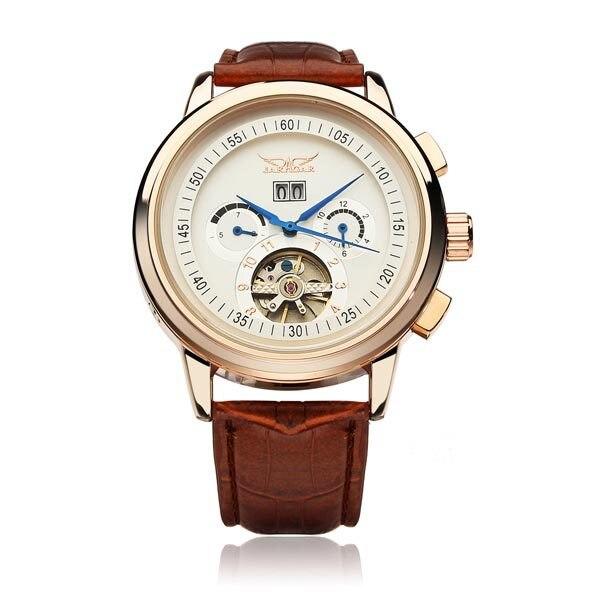 font b JARAGAR b font Brand Automatic Mechanical Tourbillon Flywheel Leather Watch Gift Box Relogio