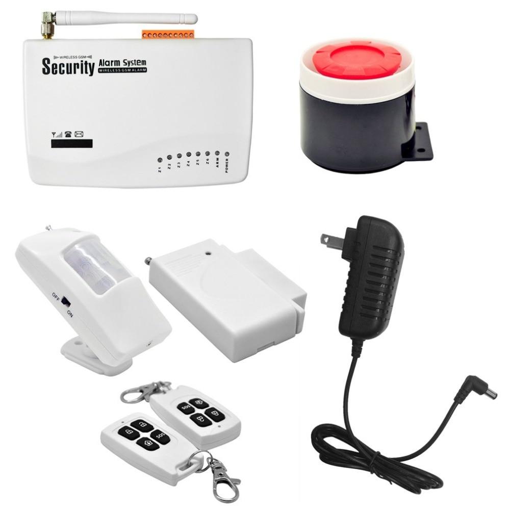 купить Wireless GSM Home Security Burglar Alarm System Auto Dialler SMS SIM Call 433MHz Frequency Support Remote Control по цене 3034.73 рублей