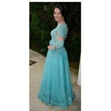 2016 heißer Verkauf Glamorous Prom Kleid Mit Apploiques Und Kristall Blau Tüll Abendkleid Benutzerdefinierte vestido de festa gala jurken