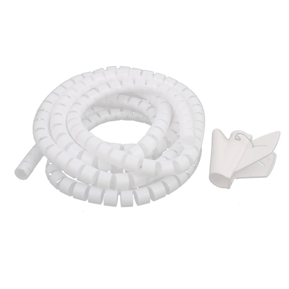 цена на 3m 15mm Diameter Spiral Wire Organizer Wrap Tube Flexible Manage Cord for PC Computer Home Bundling Hiding Cable w Clip White