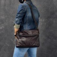 Crazy Horse Leather Men Fashion Casual Laptop Weekend One Shoulder Bag Design Messenger Crossbody Bag School Book Bag