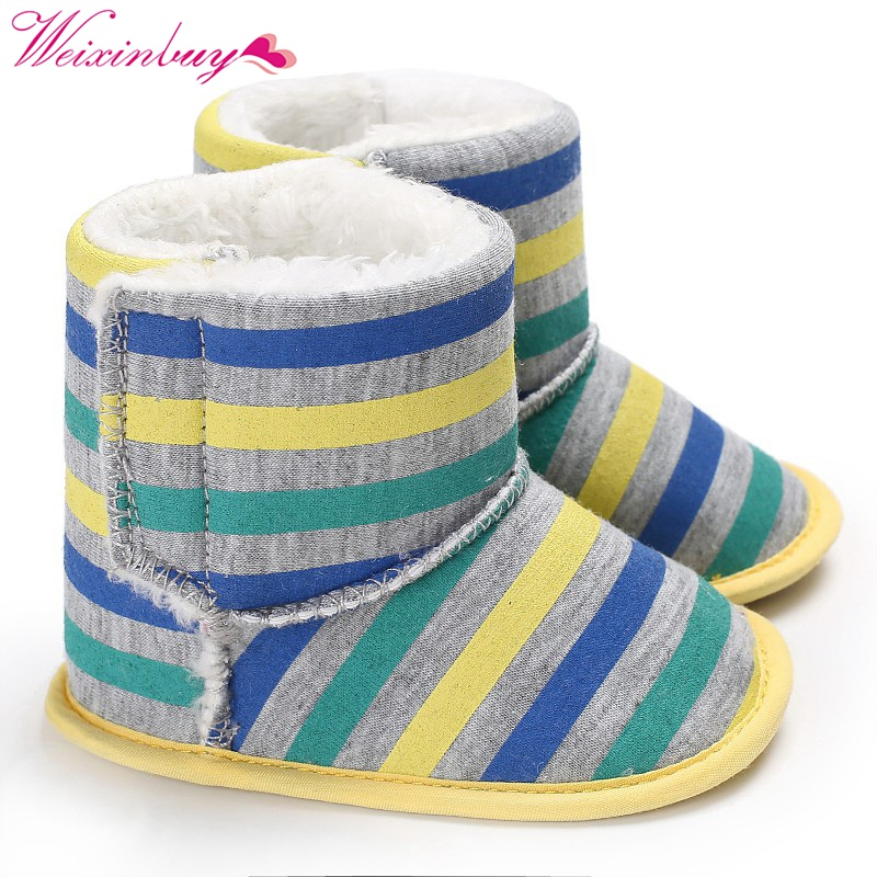 Newborn Baby Boy/Girl Boots Crib Babe Kids First Walkers Stripped Infant Toddler Winter Keep Warm Booty Shoes