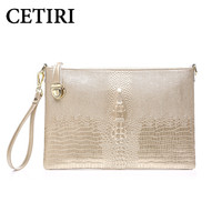 CETIRI Alligator Bag Women Gold Bags Handbags Women Famous Brands Clutch Genuine Leather Messenger Shoulder Bag