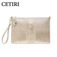 CETIRI Alligator Bag Women Gold Bags Handbags Women Famous Brands Clutch Genuine Leather Messenger Shoulder Bag