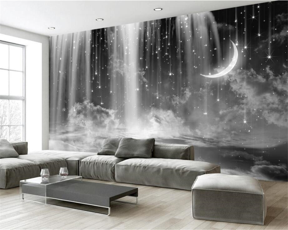 background living 3d bedroom tv sofa sky mural custom zoom waterfall behang woonkamer zwart wit slaapkamer beibehang wallpapers