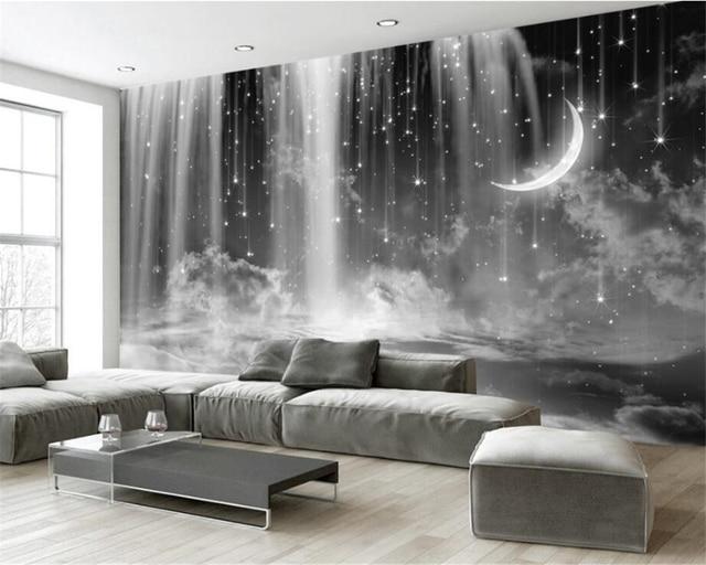 background living 3d bedroom tv sofa sky mural custom waterfall zoom behang woonkamer zwart beibehang wit slaapkamer mouse