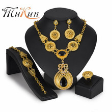 MUKUN Fashion Bridal Jewelry Set Dubai Gold Jewelry Sets for Women Crystal Necklace Earrings Set Wedding African Beads Jewelry недорого