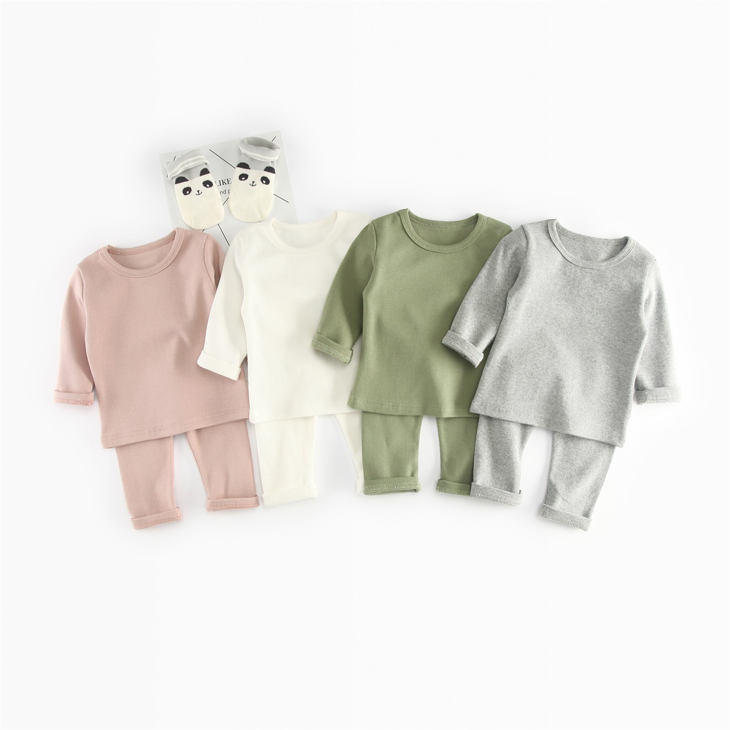 60c43db5aad9 2pcs sets 2018 New Autumn Kids Tracksuits Baby Rib Cotton Long ...