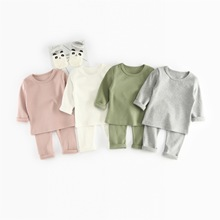2pcs/sets 2018 New Autumn Kids Tracksuits Baby Rib Cotton Long Sleeve Clothes Set Children Tops and Pant Clothing Suit 1-4 Years недорого